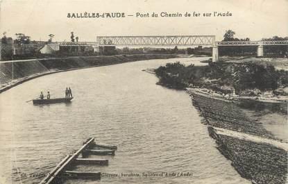 """CPA FRANCE 11 """"Sallèles d'Aude, Pont du Chemin de fer sur l'Aude""""."""