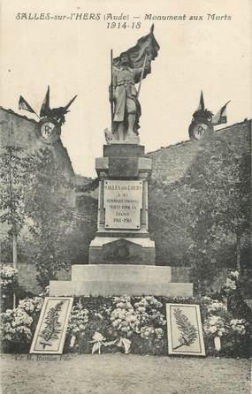 """CPA FRANCE 11 """"Salles sur L'Hers, Le monument aux morts""""."""