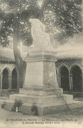 """CPA FRANCE 11 """"St Hilaire de l'Aude, Le monument aux morts""""."""