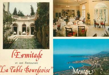 """CPSM FRANCE 06 """" Menton, L'Ermitage et son Restaurant La Table Bourgeoise""""."""