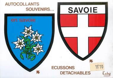"""CPSM FRANCE 73 """"la Savoie, Edelweiss"""" / ÉCUSSON ADHESIF"""