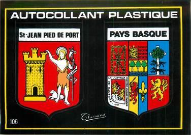 """CPSM FRANCE 64 """"Saint Jean Pied de Port"""" / ÉCUSSON ADHESIF"""