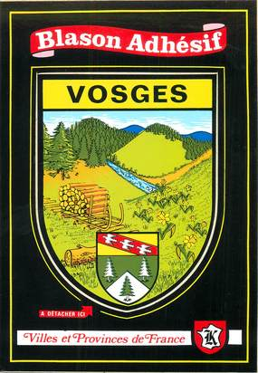 """CPSM FRANCE 88 """"les Vosges"""""""" / ÉCUSSON ADHESIF"""