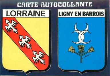 """CPSM FRANCE 55 """"Ligny en Barrois"""" / ÉCUSSON ADHESIF"""
