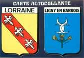 """55 Meuse CPSM FRANCE 55 """"Ligny en Barrois"""" / ÉCUSSON ADHESIF"""