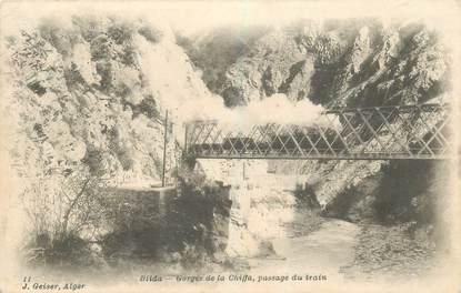 """CPA ALGERIE """"Blida, Gorges de la Chiffa, passage du train"""""""