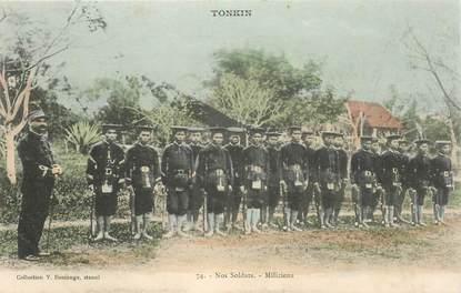 "CPA VIETNAM / INDOCHINE ""Tonkin, soldats miliciens"""