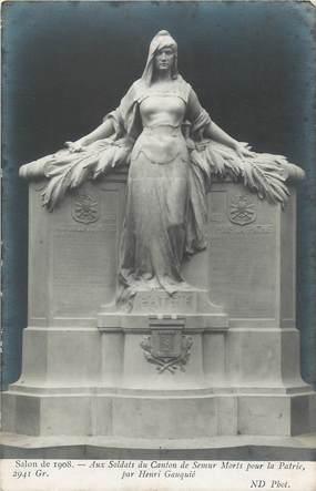 """CPA FRANCE 21 """" Semur, Monument pour les soldats morts pour la patrie par Henri Gauquié, salon de 1908""""."""