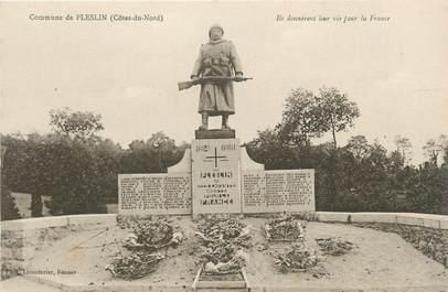 "CPA FRANCE 22 "" Pleslin, Le monument aux morts""."