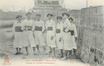 "CPA CAMBODGE "" Groupe de tirailleurs cambodgiens"""