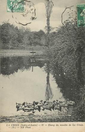 """CPA FRANCE 37 """" La Croix, Etang du Moulin de la Croix""""."""