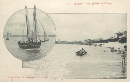 """CPA FRANCE 17 """" Royan, Vue générale de la plage""""."""