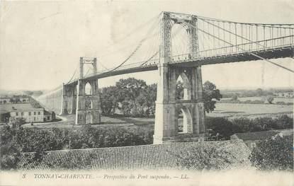 """CPA FRANCE 17 """"Tonnay-Charente, Perspective du pont suspendu""""."""
