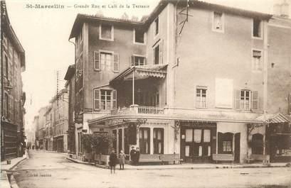 """CPA FRANCE 38 """" St Marcellin, Grande rue et Café de la Terrasse""""."""