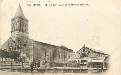 """CPA FRANCE 17 """" Jonzac, L'église et le marché couvert""""."""