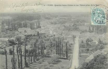 """CPA FRANCE 17 """" Pons, Quartier St Vivien et Rue Thiers de la Tour""""."""
