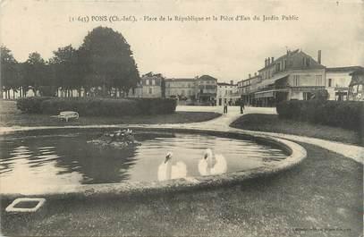 """CPA FRANCE 17 """" Pons, Place de la République et la pièces d'eau du jardin de ville""""."""