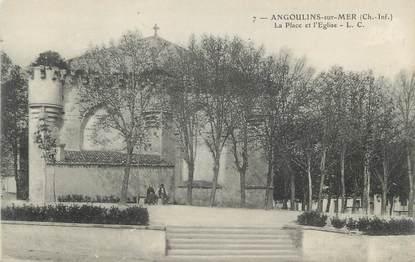 """CPA FRANCE 17 """" Angoulins sur Mer,, La place et l'église""""."""