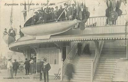 """CPA BELGIQUE """"Liège, les aéroplanes captifs Maxim"""" / EXPOSITION UNIVERSELLE 1905 / MANÈGE"""