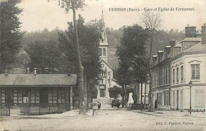 """CPA FRANCE 27 """" Vernon, Gare et église de Vernonnet"""""""
