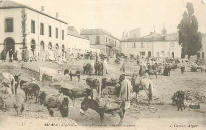 """CPA ALGERIE """"Médéah, les abords du marché couvert"""