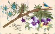 """Theme CPA CARTE PEINTE / DESSIN ORIGINAL / """"Heureuse fête"""" / Petit oiseau sur la branche"""