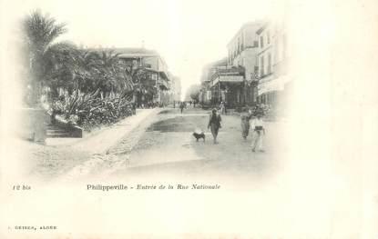 "CPA ALGERIE ""Philippeville, la rue nationale"""