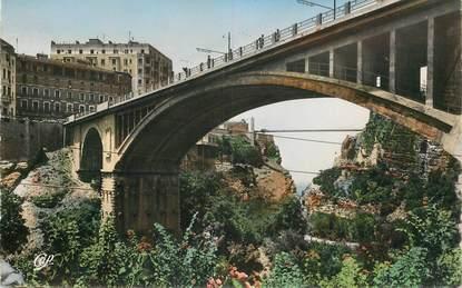 """CPSM ALGERIE """"Constantine, le pont Sidi M'Cid vu du pont d'El Kantara"""""""