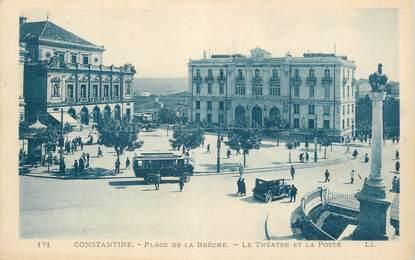 """CPA ALGERIE """"Constantine, Place de la Brèche, le théâtre de la poste"""" / BUS"""