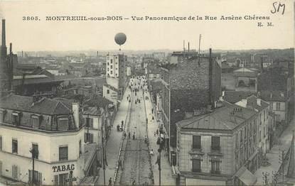 """CPA FRANCE 93 """" Montreuil sous Bois, Vue panoramique de la rue Arsène Chéreau"""" / BALLON ROND"""