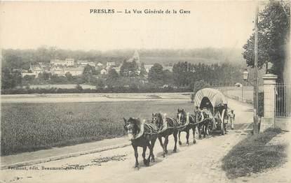 """CPA FRANCE 95 """"Presles, La vue générale de la gare"""""""