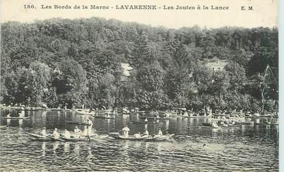 """CPA FRANCE 94 """"La Varenne, Les joutes à la lance"""""""