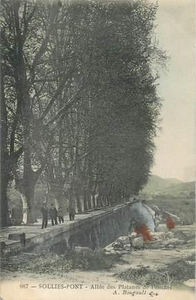 """CPA FRANCE 83 """" Solliès Pont, Allée des platanes de l'enclos"""""""
