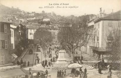 """CPA FRANCE 83 """" Hyères, Place de la République"""""""