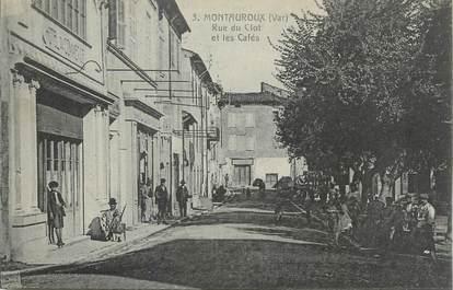 """CPA FRANCE 83 """"Montauroux, Rue du Clot et les cafés"""""""