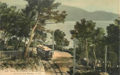 """CPA FRANCE 06 """"Retour du tramway de Monte Carlo, Arrêt du Cap Martin'"""