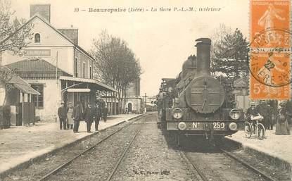 "CPA FRANCE 38 ""Beaurepaire, la gare"" / TRAIN"