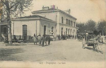 "CPA FRANCE 83 ""Draguignan, La gare"" / CACHET AMBULANT"