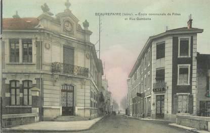 "CPA FRANCE 38 "" Beaurepaire, Ecole communale de filles et rue Gambetta"""
