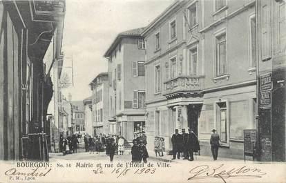 """CPA FRANCE 38 """" Bourgoin, Mairie et rue de l'Hôtel de Ville"""""""