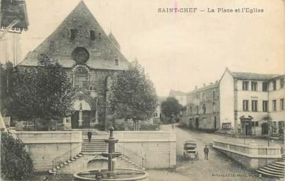 """CPA FRANCE 38 """" St Chef, La place et l'église"""""""