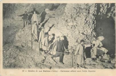 "CPA FRANCE 38 "" La Balme les Grottes, Les grottes, caravane allant aux petits bassins"""