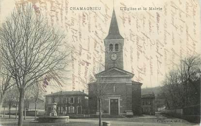 """CPA FRANCE 38 """" Chamagnieu, L'église et la Mairie"""""""