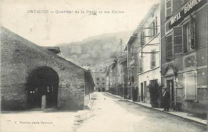 """CPA FRANCE 38 """" Crémieu, Quartier de la Poste et les halles"""""""