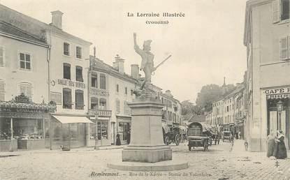 """CPA FRANCE 88 """"Remiremont, Rue de la Xavée, Statue du volontaire"""""""