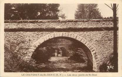 "CPA FRANCE 87 "" Le Chatenet de St Denis, Les deux ponts de St Denis"""