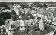 """91 Essonne CPSM FRANCE 91 """" Dourdan, L'ensemble du château vu du haut de l'église"""""""