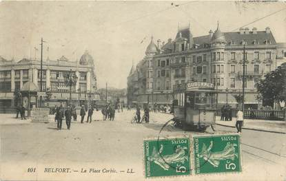 "CPA FRANCE 90 "" Belfort, La Place Corbis"" / TRAMWAY"
