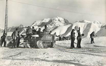 """CPSM FRANCE 74 """" Megève, La chenillette de l'Alpette et le Massif du Mont Blanc"""""""