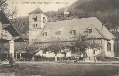 """CPA FRANCE 74 """" Samoëns, L'église et la place centrale"""""""